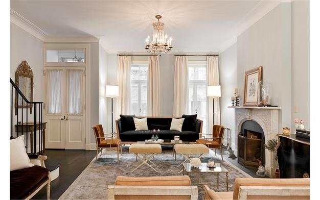 NYC West Village townhouse formerly owned by Billy Joel.  Nate Berkus design.  Love this room!Nate Berkus, Furniture Arrangement, Nateberkus, Blue Wall, Grey Wall, Living Room, Billy Joel, Painting Colors, Gray Wall