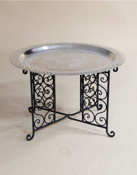 Engraved Moroccan Brass Coffee Table In Silver With Iron Base