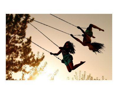 swinging high in the sky