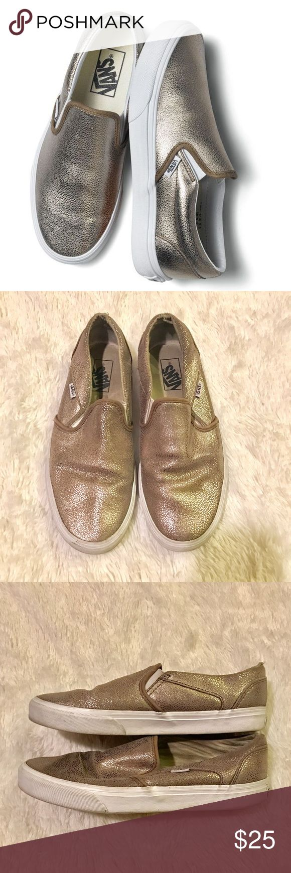 BLACK FRIDAY EARLY SALE -Gold Sparkle Slip On Vans Slip On Vans with a gold sparkle. Almost snakelike looks to them. They are used in good condition. Slight ear at the heel. Otherwise the rubber part can most likely be cleaned. Still have a lot of life left. Size 9.5. Vans Shoes
