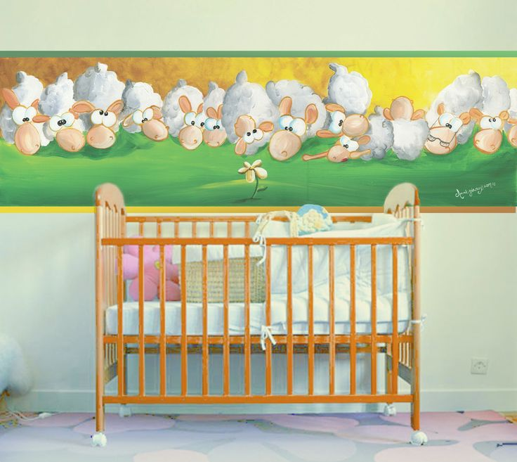 """The nursery. Here is a mural quite original and unique to decorate your baby's room: """"It's Mine"""". A Wallpaper Mural by Muralunique.com. This is an original painting from Annie Giroux."""