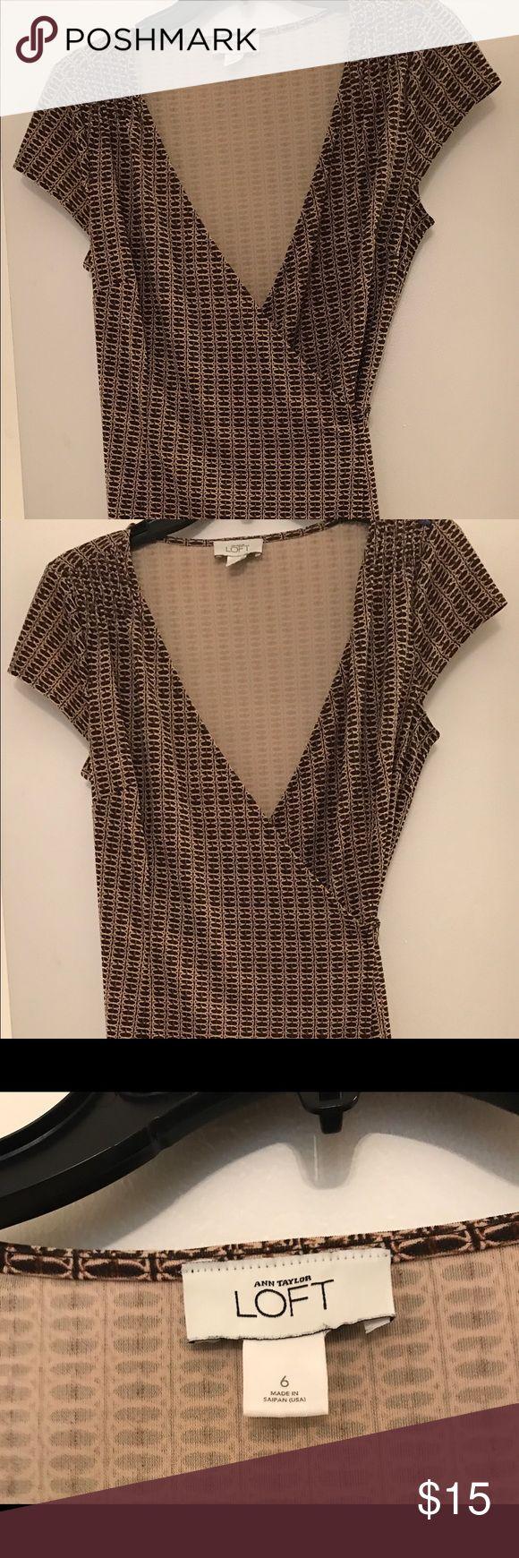 Anne Taylor Loft Wrap brown/bone dress size 6 Ann Taylor Loft wrap dress size 6 Ann Taylor Dresses