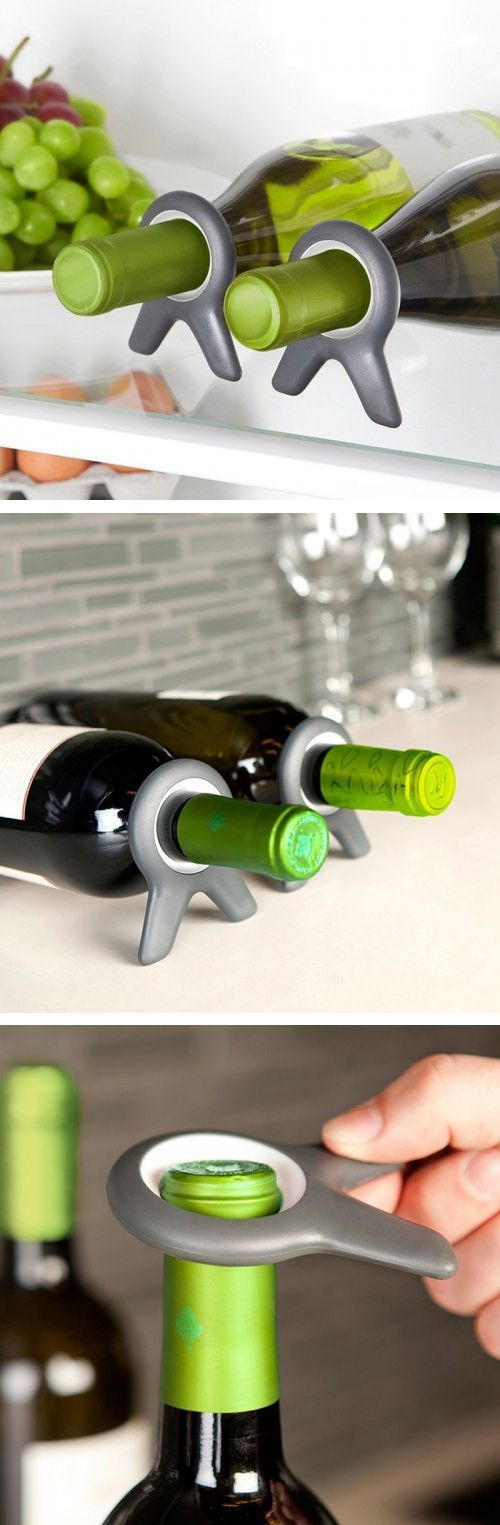 Wine Bottle Holders - Keeps your bottles from rolling around in the fridge, so you can lay them down flat + stack for space saving