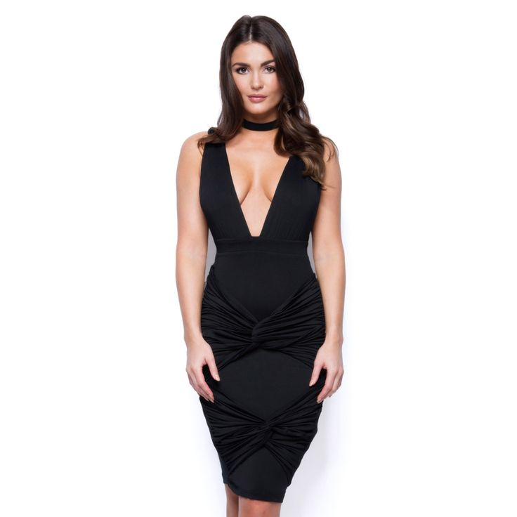 Incredibly flattering and with a bust baring cut, this double knot choker dress highlights a tiny waist and drapes your booty. With a sexy low back and open bust, this bodycon dress flaunts a double knot to enhance your figure and comes with a separate trend-led choker. We love this look with barely there heels and loose wave hair.  Gorgeous bodycon dress featuring a deep V neckline, low back and gathered ruched knot designs on the skirt. Gorgeously stretchy, slinky bodycon fabric for the…