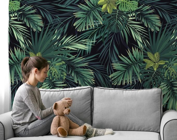 Removable Wallpapers For Your Home By Wall2stick On Etsy Fern Wallpaper Jungle Wallpaper Botanical Wallpaper