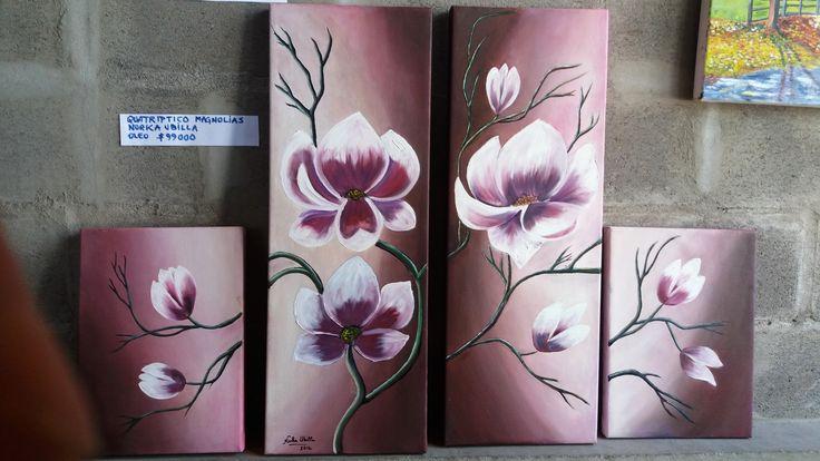 Norka Ubilla  Magnolias óleo sobre tela (cuatríptico medidas aprox 30x40 y 30x80) (Réplica)