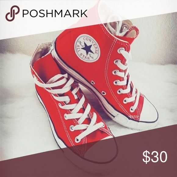 Red High top Converse Only worn a couple times. Not the pair pictured! Converse Shoes
