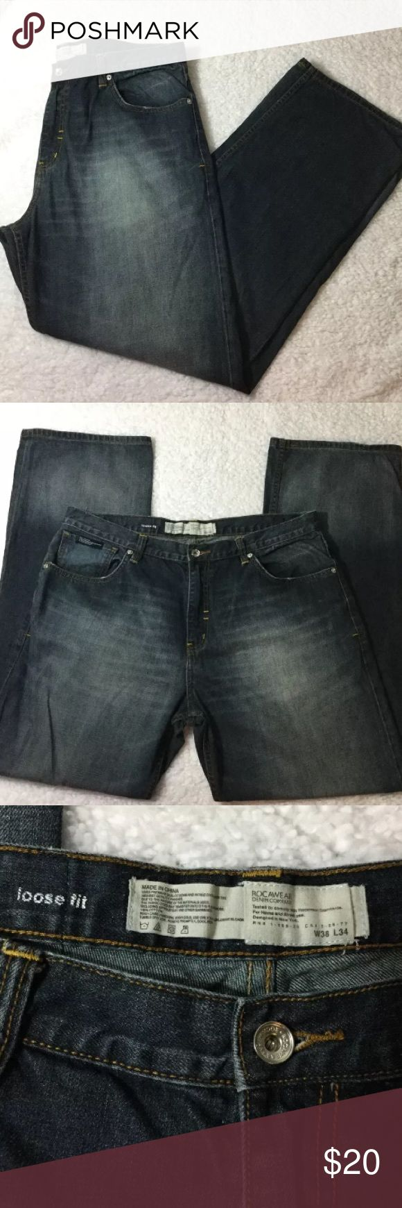 👖 Rocawear 38x34 Loose Fit Jeans  Faded wash Rocawear 38x34 Loose Fit Jeans  Faded wash Rocawear Jeans