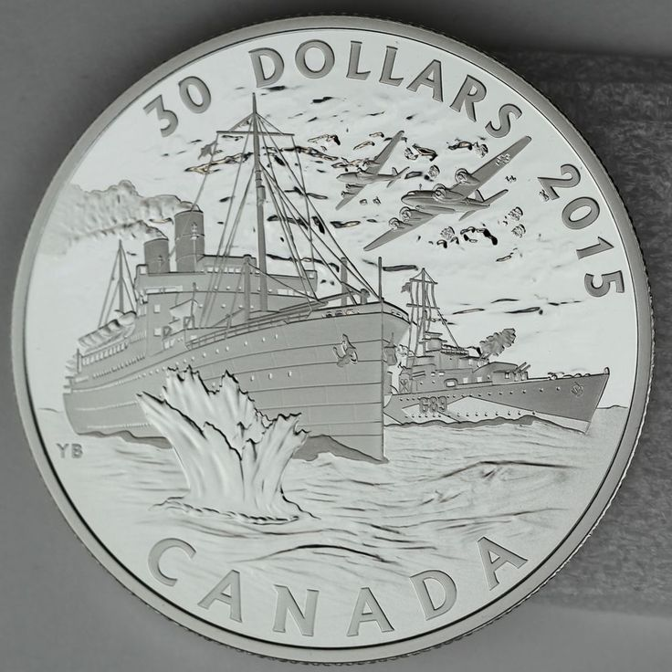 Canada 2015 $30 Canada's Merchant Navy Battle of the Atlantic 2 oz. Pure Silver