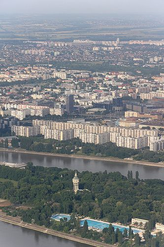 The Margaret Island water tower and the Palatinus bath from above - Budapest, Hungary