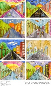 one point perspective- folding the paper diagonally twice top triangle sky, bottom triangle road, side triangles trees or city