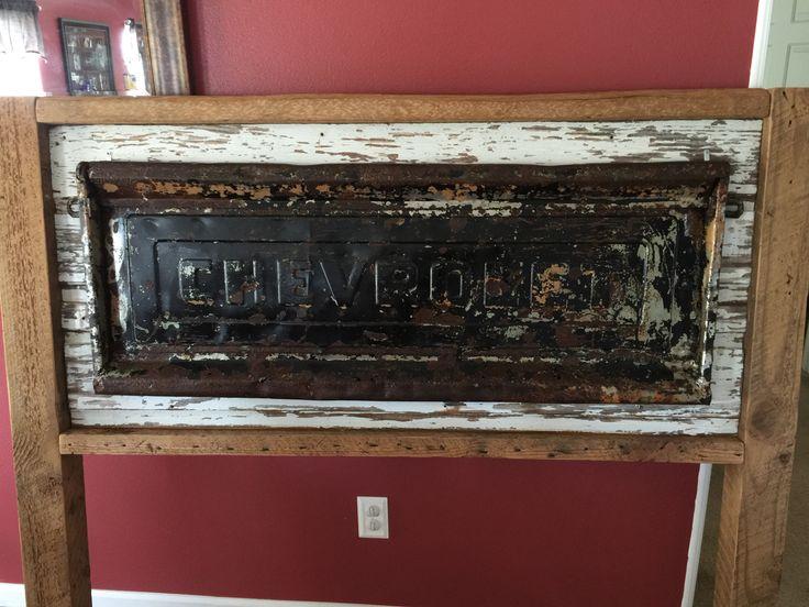 115 year old reclaimed Wood chevy tailgate headboard  Handyhinch.com Facebook.com/handyhinch