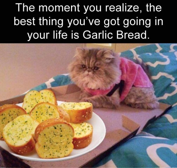 The moment you realize, the best thing you've got going in your life is Garlic Bread.