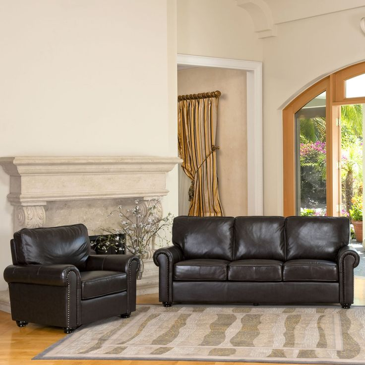 Abbyson Living London Brown Leather Chair and Sofa Set | from hayneedle.com