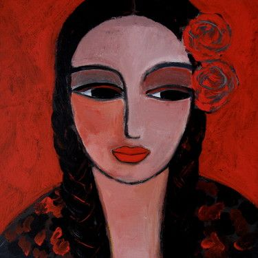 "Saatchi Art Artist Nelly Van Nieuwenhuijzen; Painting, ""Braids and roses"" #art"