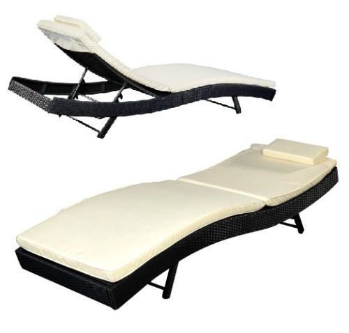 Rattan Pool Chaise Lounge Chair Adjustable Patio Day bed Outdoor Sun Lounger Pad #GoPlus