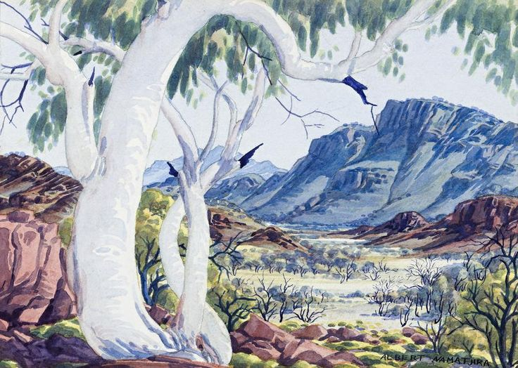 Ghost Gum in West Macdonnell Ranges,  Central Australia, Northern Territory - Albert Namatjira 1902 - 1959 - Google Search
