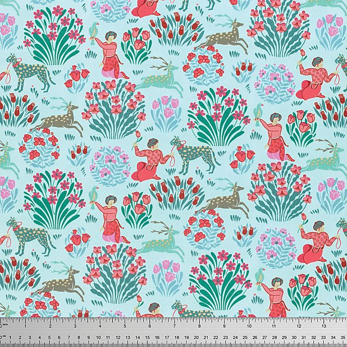 Splendor Fabric by Amy Butler Forest Friends Tame Animals Floral Bushes on Sky Blue