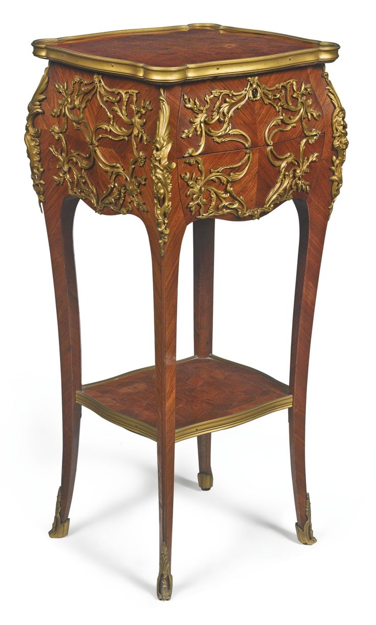 A Louis XV style gilt bronze-mounted kingwood and cube parquetry table ambulante, France, late 19th century.