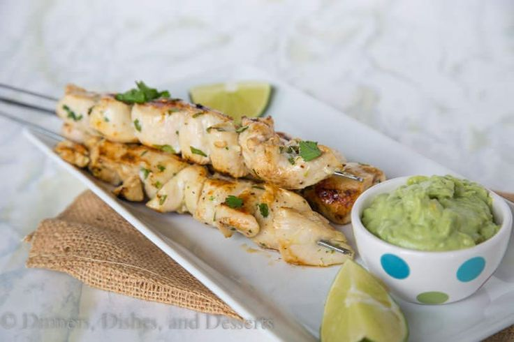 Chicken kebabs marinated in garlic, cilantro, jalapeno and lime juice. A quick and easy grilled chicken dinner the whole family will ask for again and again.