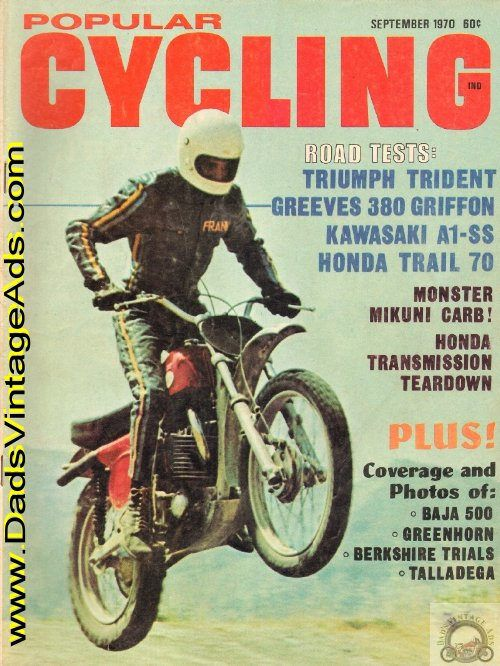 Cover: 380 Greeves Griffon; Contents: Road Tests: Triumph Trident, Greeves 380 Griffon, Kawasaki 250 A1-SS, Honda Trail 70; Greenhorn '70; Talladega - big time cycle racing comes to Alabama; Overhauling the 160cc/175cc Honda Gearbox; That Berkshire Business - the proper place to practice for th