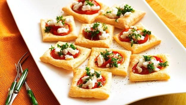 Tomato and cheese tarts recipe ( more on http://www.goodiesrecipes.com/recipe/290/tomato-and-cheese-tarts-recipe.html) | INGREDIENTS: 2 sheets filo pastry 1 egg white 110g/4oz low-fat soft cheese handful of fresh basil leaves 3 small tomatoes, sliced salt andblack pepper | HOW TO COOK: Tomato and cheese tarts RECIPE:  For this tasty Tomato  cheese tarts recipe, preheat the oven to 210C/410F/ Gas mark 6.  Brush the sheets of filo pastry lightly with the egg white, and cut into 16 squares…