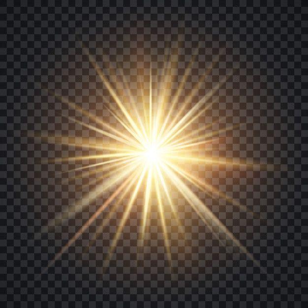 Vector Realista Starburst Efeito De Iluminacao Sol Amarelo Com Raios E Brilho No Fundo Transparente Yellow Sun Transparent Background Starburst