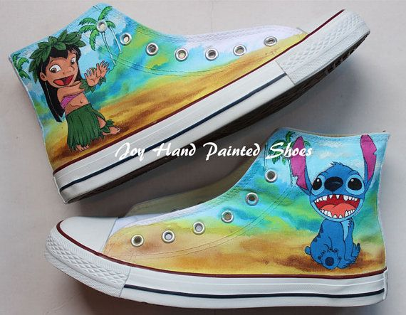 Lilo and Stitch Anime Shoes Hand Painted Shoes High Top Anime Sh