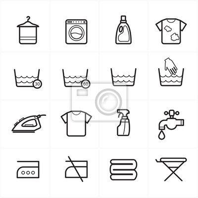 Fotobehang Flat Line Pictogrammen Voor Wasserij en Wassen Icons