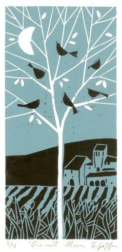 Lino block print Crescent Moon Limited edition by Giuliana Lazzerini