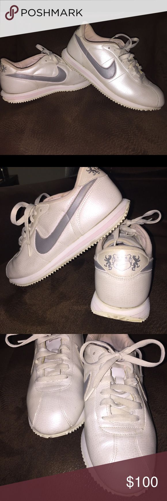 Beautiful shimmery white/pink/grey Nike Cortez 9.5 These are 'vintage' Nikes. Purchased in 2007, these are true Cortez beauties. Super clean, inside and out. I rarely wore them and I've held onto them bagged & boxed. Nikes run small, so while they say 9.5, they're actually closer to 9. They're a white/silvery shimmer with pale pink EVA striped outsole, the swoosh is grey with a pale pink swoosh under that. These are a collector's dream. The outsoles are clean and pristine. Nike Shoes…