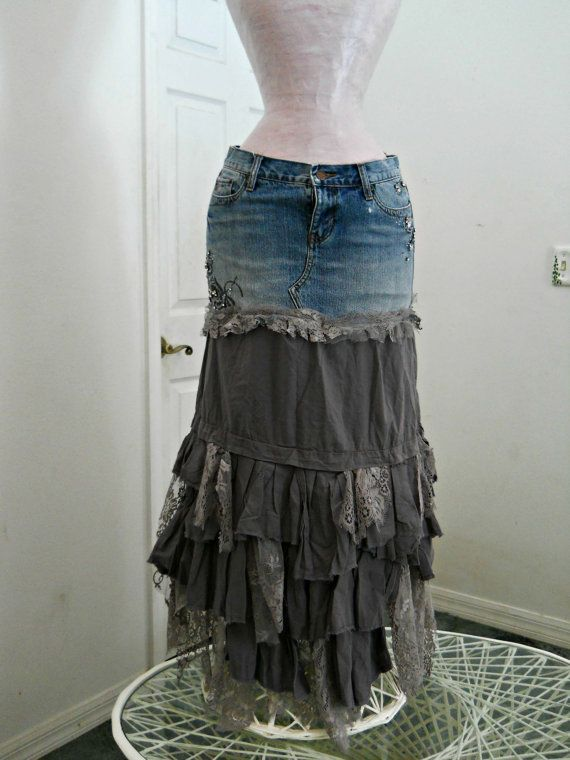 This ballroom jean skirt is one of my line of Renaissance Denim Couture, the name I chose for my designs because I take vintage denim and give it