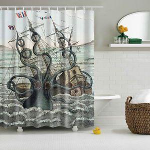 Colored Octopus Kraken Attack Galleon Carrack Custom Shower Curtain Multi-size