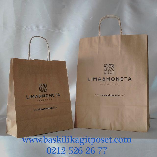 marka logo baskılı kraft çanta – mağaza poşeti