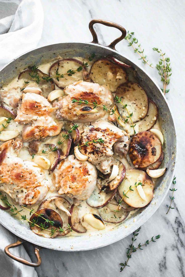 One Pan Creamy Garlic Herb Chicken & Potatoes   lecremedelacrumb.com
