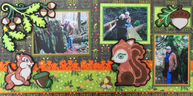 This is a fall scrapbook page idea. I used acorns, a chipmunk and squirrel images for this outdoor layout. The left acorn image is from Cricut Autumn Celebrations. To learn how to make this page, go to my blog at Travel Scrapbook 27 Cypress Mountain - Me and My Cricut