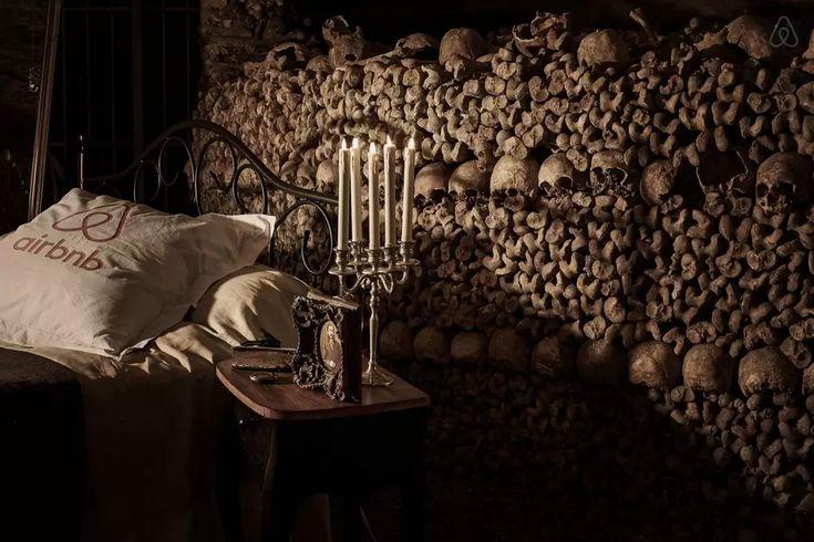 airbnb contest promo - sleep in the catacombes of Paris #stunt #tourism travel