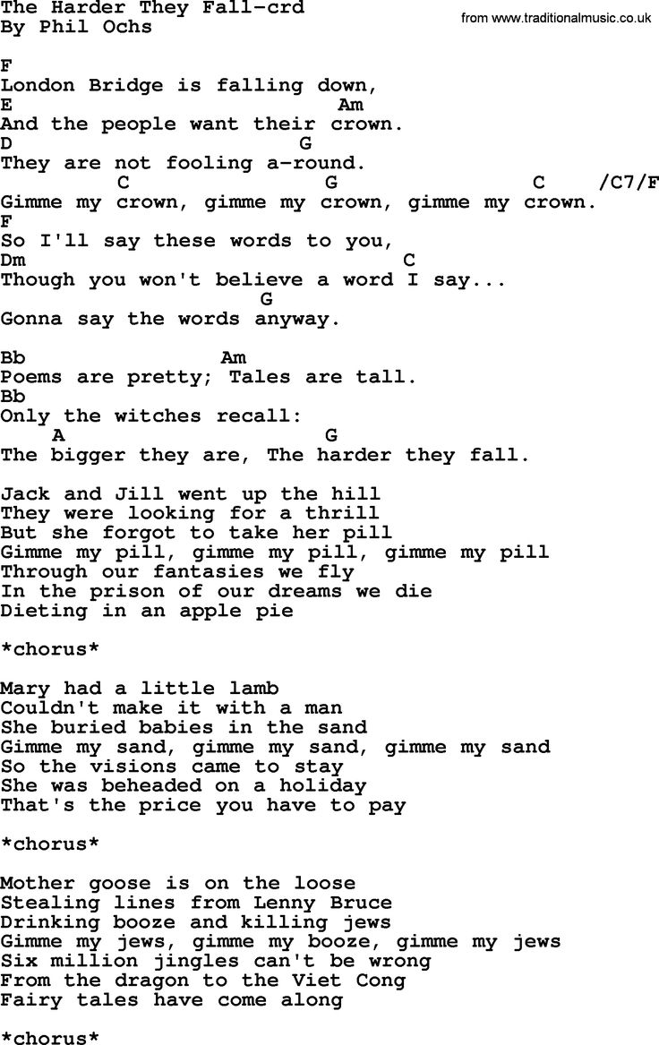 99 best phil ochs chords images on pinterest pdf lyrics and phil ochs song the harder they fall by phil ochs lyrics and chords hexwebz Image collections