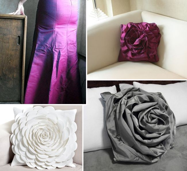 turn old bridesmaid dresses into home accents. I wish I was this creative!