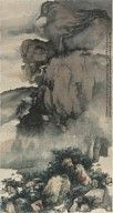 What kind of brushstrokes did this artist use to depict rocks and mountains, essential components of a traditional landscape painting? In this hanging scroll, the artist first outlined the basic composition with ink, then used moist ink washes to depict the mist-shrouded mountain. The rocks in the foreground are rendered in detail, as if emerging from obscuring mists.