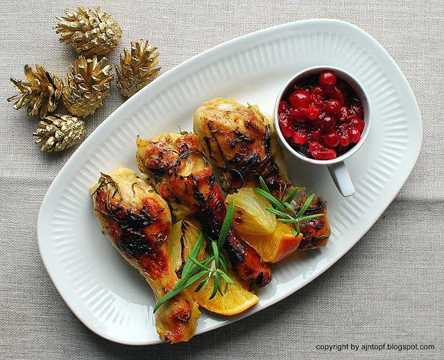 eintopf: kurczak pieczony w pomarańczach i rozmarynie z sos...