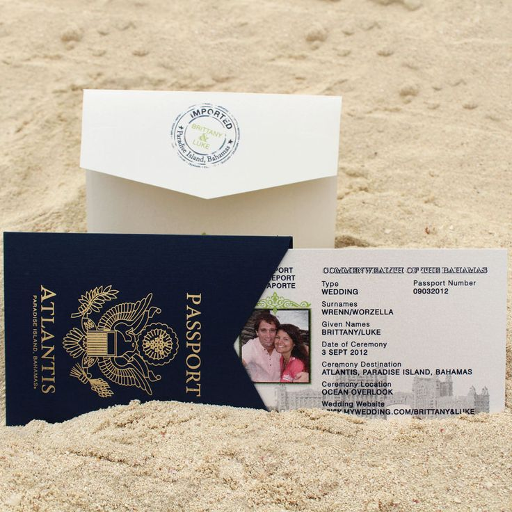 cruise wedding save the date announcement%0A Save The Date Passports  From the Love Atlantis custom invitation line   Atlantis  Bahamas