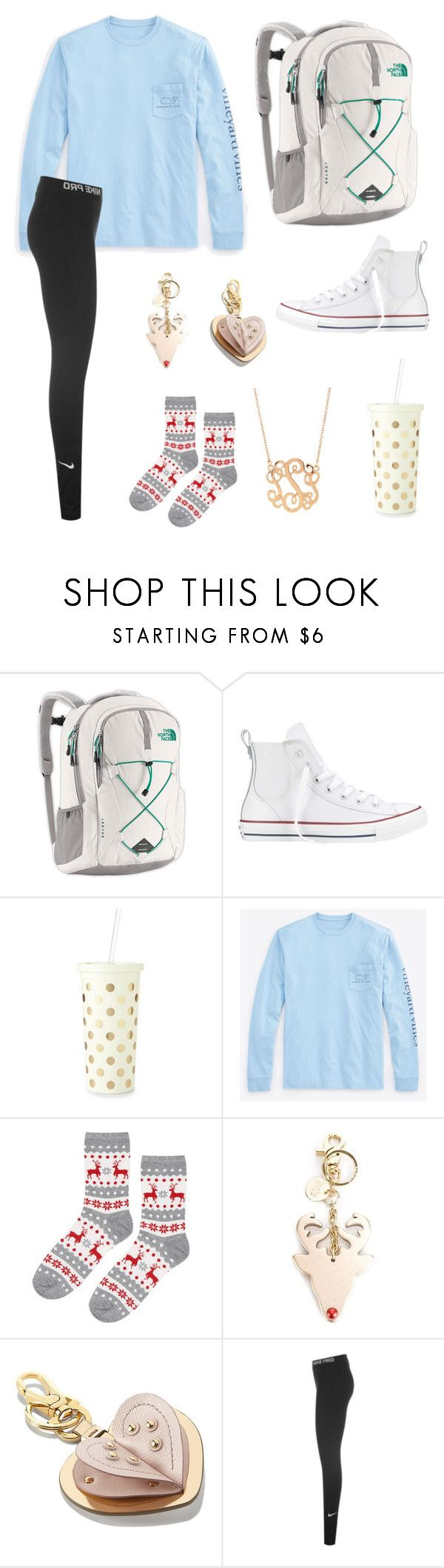 """""""Untitled #123"""" by hanah2053 ❤ liked on Polyvore featuring The North Face, Converse, Kate Spade, Vineyard Vines, Topshop, See by Chloé, Salvatore Ferragamo and NIKE"""