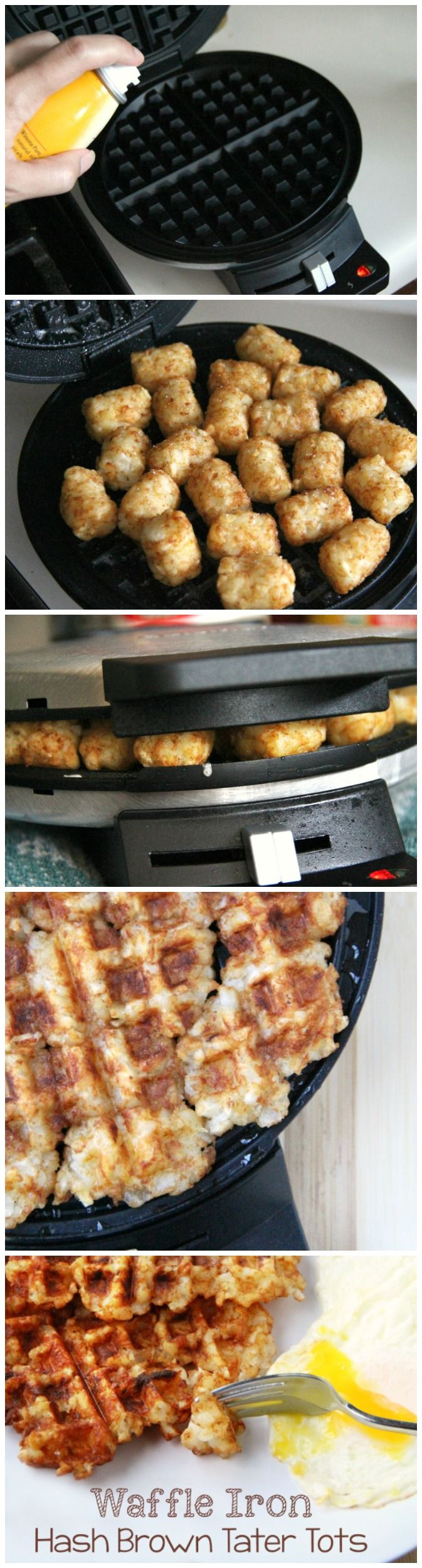 Perfect hash browns every time! Waffle Iron Hash Brown made with Tater Tots -  #BreakfastWithBevMo