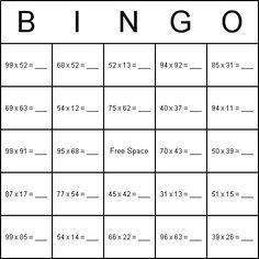 double digit multiplication bingo