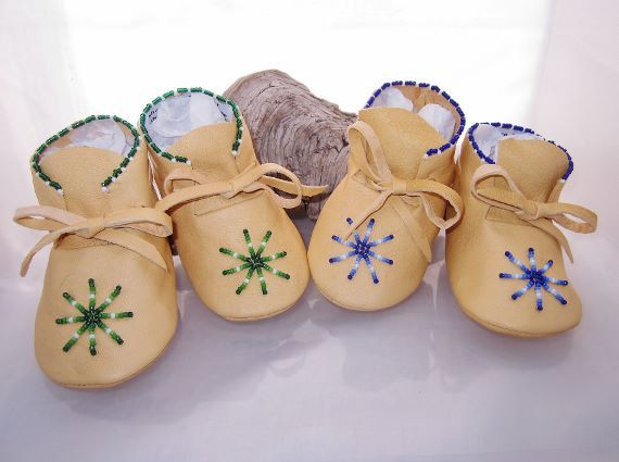 Native American Deer Hide baby moccasins by AuthenticNativeMade, $38.00