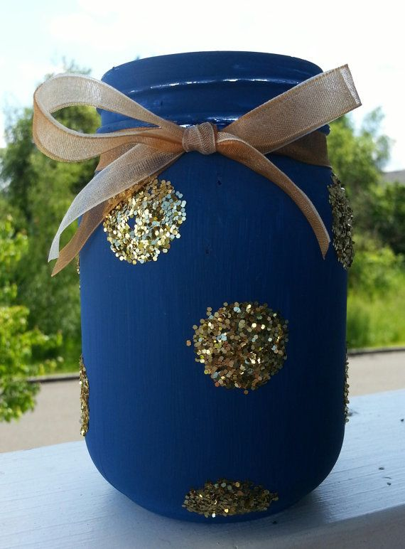 Glittered Mason Jars Navy Blue Painted Mason Jar by Jones4Blush, $6.25