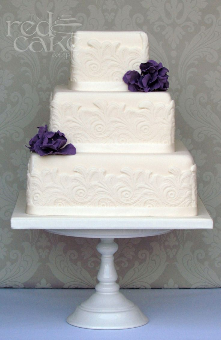 Ivory Square Lace Wedding Cake navy blue flowers | My ...