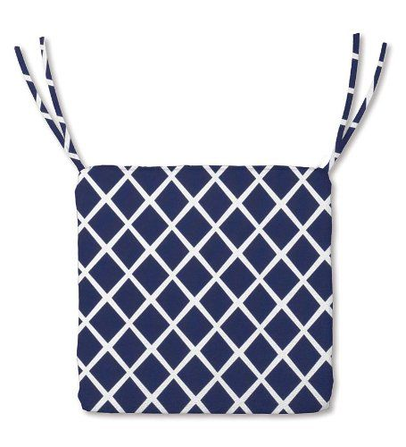X Weather Resistant Outdoor Classic Square Chair Cushion With Ties, In Navy  Trellis