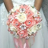 Wedding+Flowers+Round+Roses+Bouquets+Wedding+/+Party/+Evening+Satin+/+Silk+/+Bead+/+Rhinestone+–+USD+$+29.98